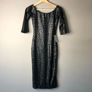 Dress the population sequin black dress xs